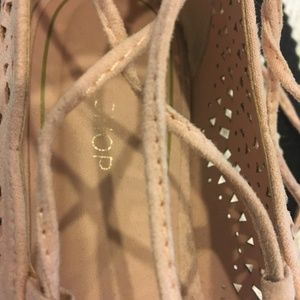 Topshop Shoes - Topshop light pink 'Ghillie' lace up flat